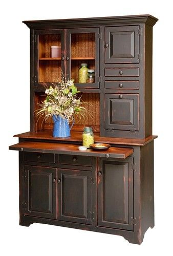 Primitive Furniture Hoosier Hutch Cabinet Country Farm Kitchen Cottage Wood
