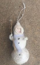 RARE ANTIQUE COTTON BATTING VICTORIAN GIRL SNOW STRAW BROOM CHRISTMAS ORNAMENT