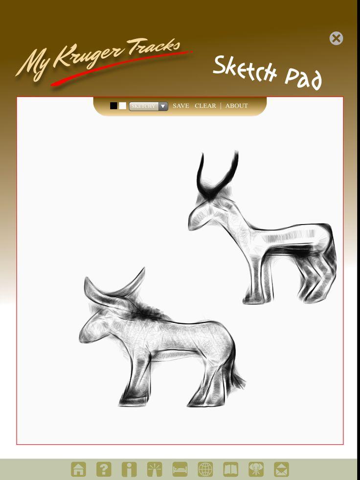Sketch board available on Kruger Tracks app #krugertracks