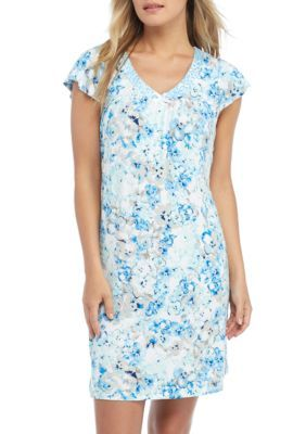 Miss Elaine Women's Blue Liquid Knit Short Gown - Blue Roses - Xl