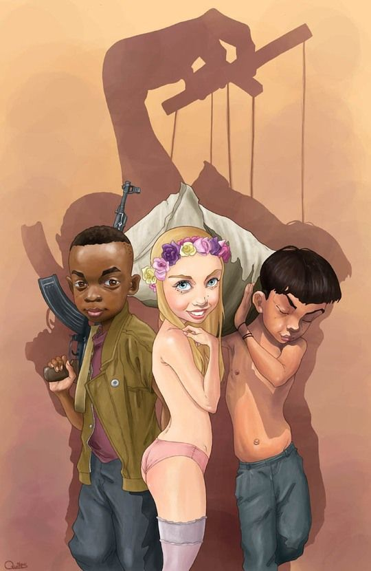 Made by: Luis Quiles - (What I see in this illustration: a child soldier, child prostitute and a child labourer - the hand in control profits from them. A powerfull illustration !)