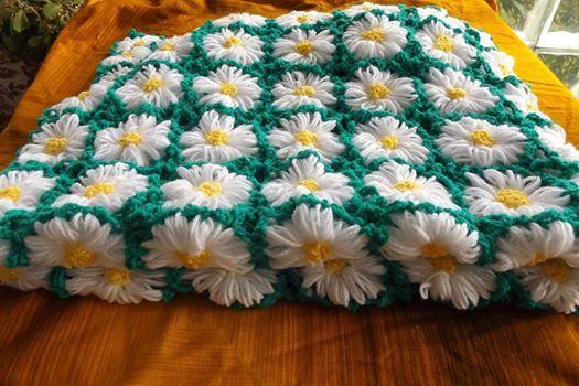 MADE TO ORDER . Crochet Daisy Field Baby Blanket. Daisy