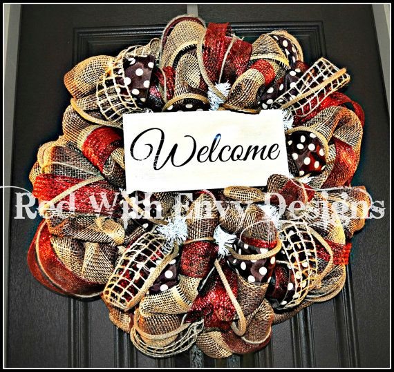Summer Wreath Fall Wreath Deco Mesh Wreath by RedWithEnvyDesigns, $100.00