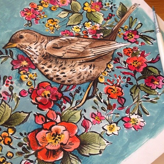 Watercolor painting #Bird #flowers #floral #watercolor #art #painting #drawing #colors #blue