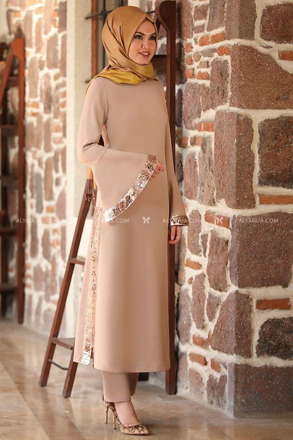 Bej Lase Ikili Takim Es13388 Alyadua Islami Giyim Giyim Abaya Modasi