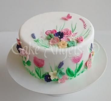 Handpainted Cake with Edible Spring Sugar Flowers and Butterflies