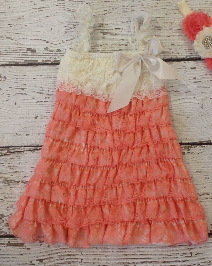 Coral ivory lace dress Lace dress baby by BabyLiloHairBoutique, $27.95