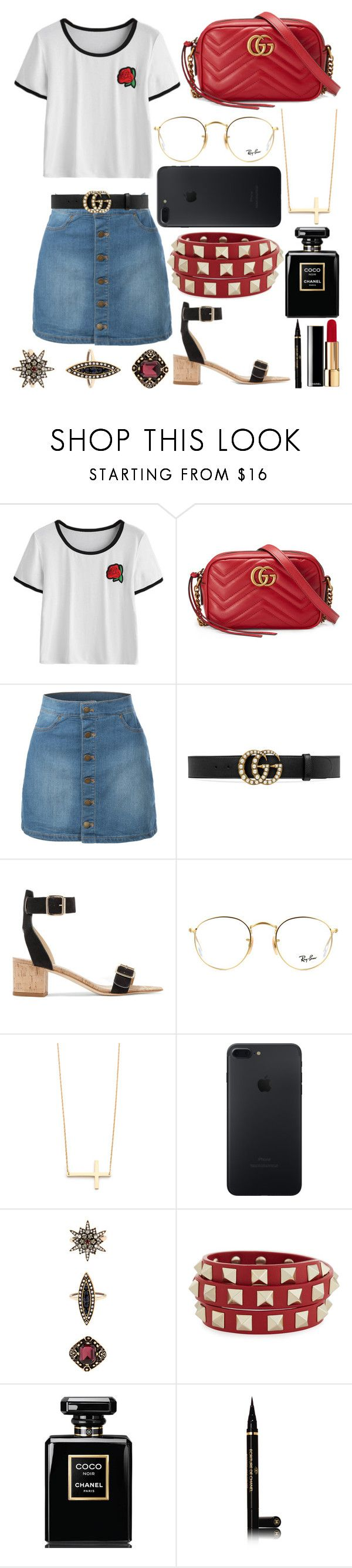 """""""425."""" by plaraa on Polyvore featuring Gucci, LE3NO, All Tomorrow's Parties, Ray-Ban, Jennifer Zeuner, Accessorize, Valentino and Chanel"""