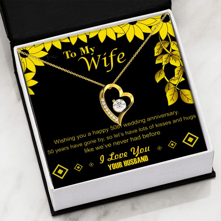 50th golden wedding anniversary pendant necklace gift for