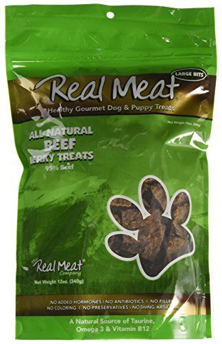 Real Meat Large Bits Beef Jerky Dog Treats 12 oz - Real Meat Treats are 95% real meat guaranteed to please the palate of all discerning dogs & cats. Wilderness Foods use only the finest New Zealand farm raised Venison, Lamb, Chicken and Beef, and fresh fish from the South Pacific Ocean. Available in six different flavors. Great taste dogs enjoy!