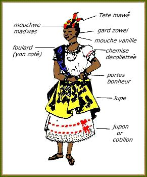 The full name is WOB DWIYET (a Creole corruption of the french ROBE DOUIETTE) and it is a traditional outfit in Dominica, worn at celebrations. Description from aolanswers.com. I searched for this on bing.com/images