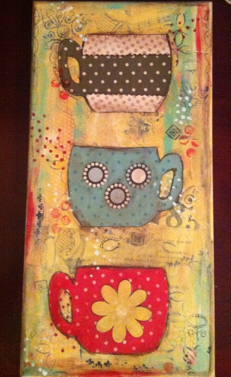 78 best coffee and tea mixed media images on pinterest for Mixed media canvas art ideas