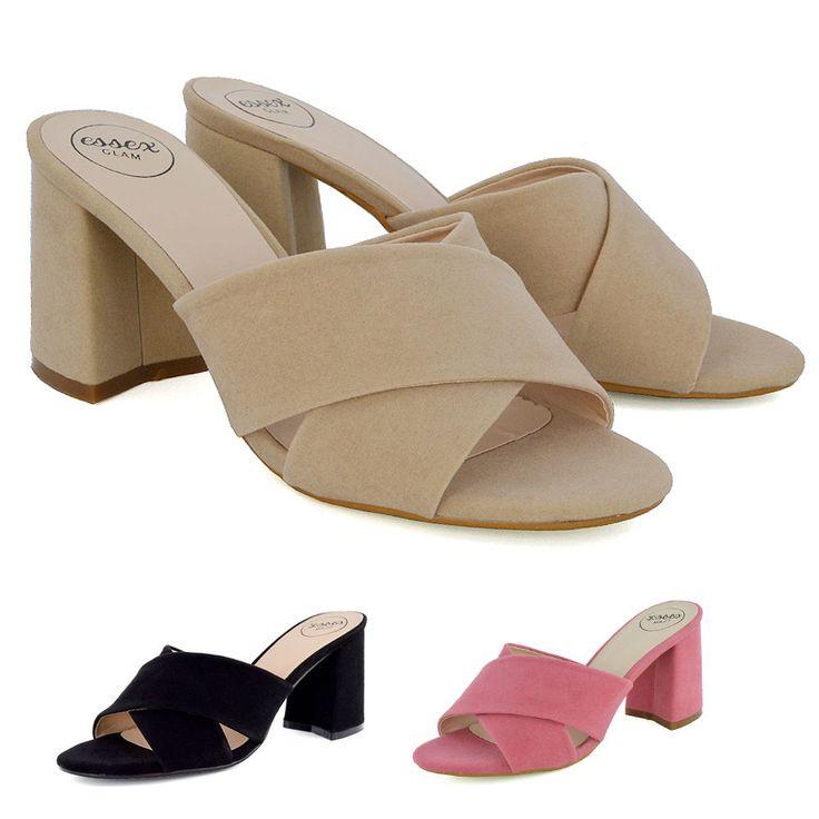 Womens Slip On Shoes Block Heel Mule Ladies Open Back Cross Over Strap Sandals    eBay
