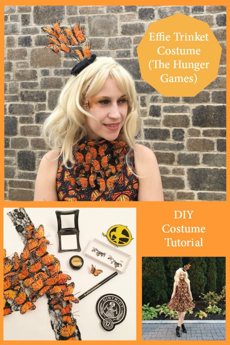 DIY Effie Trinket Costume Tutorial - Hunger Games costume. I fell in love with this monarch butterfly dress and knew it would be my next Halloween costume - it is such a great cosplay! #effietrinket #hungergamescosplay