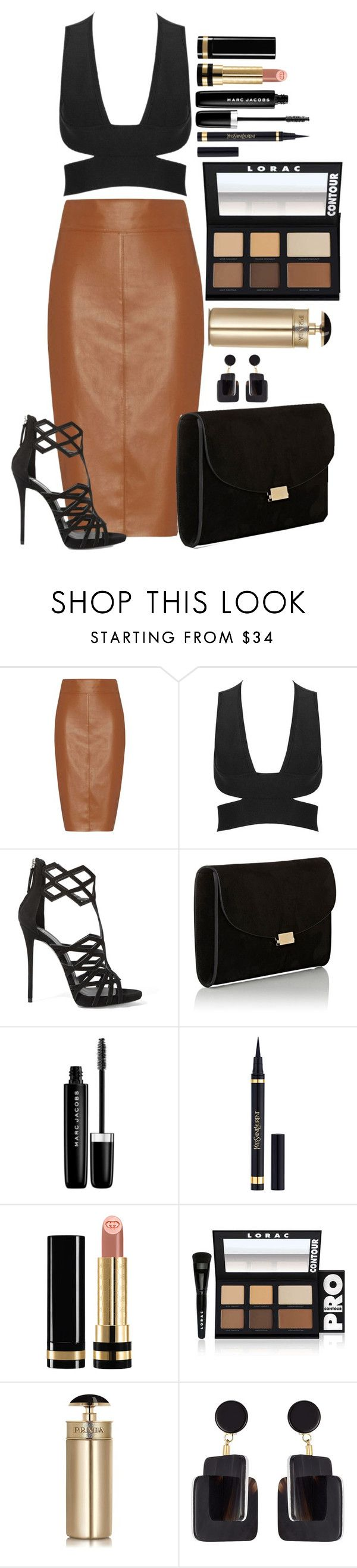 """Untitled #1447"" by fabianarveloc on Polyvore featuring Bailey 44, Giuseppe Zanotti, Mansur Gavriel, Marc Jacobs, Yves Saint Laurent, Gucci, LORAC, Prada and Marni"
