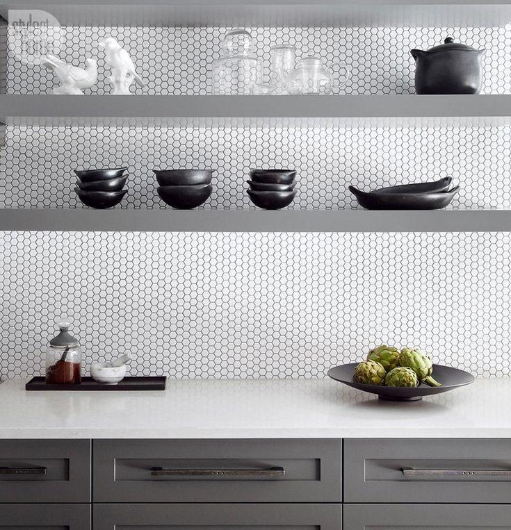 Minimalist Black And White Kitchen With Penny Tiles Backsplash