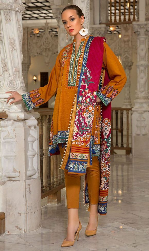 313057997e Orient Latest Winter Dresses 2018-19 by Embroidered Printed Collection | Winter  Dresses | Winter dresses, Dresses, Pakistani dresses