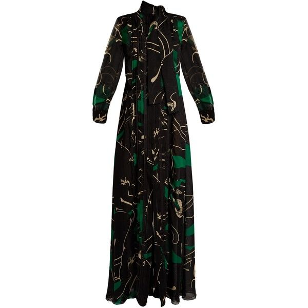 Valentino Panther-print silk-georgette gown ($6,280) ❤ liked on Polyvore featuring dresses, gowns, black green, cocktail gown, special occasion dresses, green print dress, green cocktail dress and holiday dresses