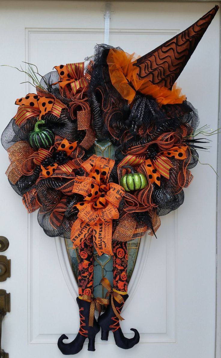large witch with hat and custom legs halloween mesh wreath halloween door hanger - Etsy Halloween Decorations
