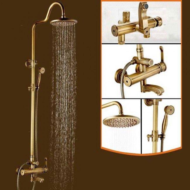 Juno Antique Brass Bronze Finish Rain Shower Set Shower Faucet