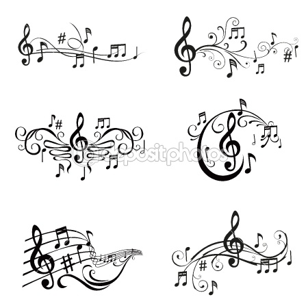 Set of Musical Notes Illustration - in vector — Stock Vector #9783951