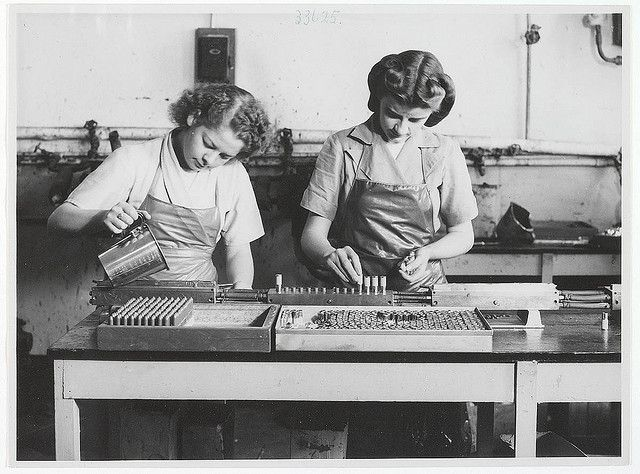 Lipstick production at Colgate-Palmolive, c. 1940s, by unknown photographer | Flickr - Photo Sharing!