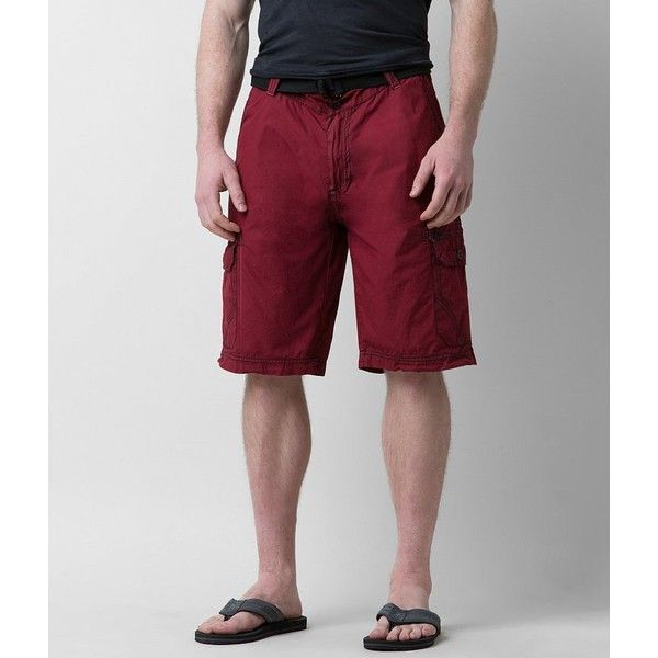 Buckle Black Fire Cargo Short ($60) ❤ liked on Polyvore featuring men's fashion, men's clothing, men's shorts, red, mens red shorts, mens embroidered shorts, short mens clothing, mens short shorts and mens red cargo shorts