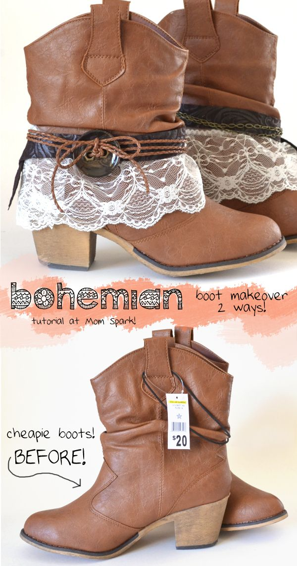 This Bohemian Boot Makeover Tutorial makes me want to go out and buy a pair of boots just so I can do this. These are TOO cutie!