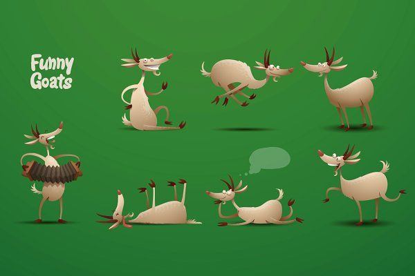 Funny Goats bundle, vector - Illustrations
