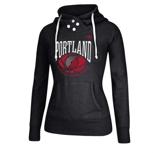 adidas Portland Trail Blazers Women's Black Ballin Pullover Hoodie