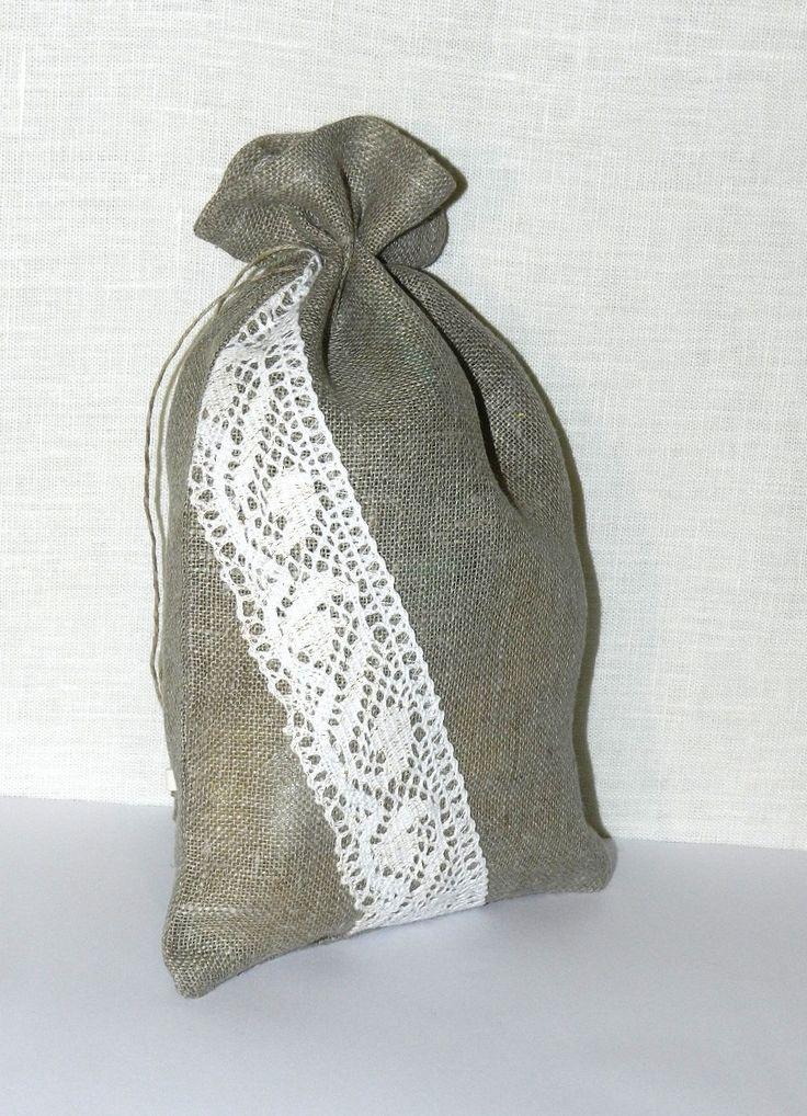 Medium-large Linen burlap bag with lace, Reusable Product Bag, Gift Bag,Natural tea herbs storage bag, wedding,birthday,party gift bag by Jolanyasewing on Etsy