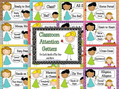 """FREE Attention-Getters posters. Cute rhymes for getting students' attention. For example, teacher says. """"Macaroni and cheese!"""" Students reply, """"Everybody freeze!"""""""