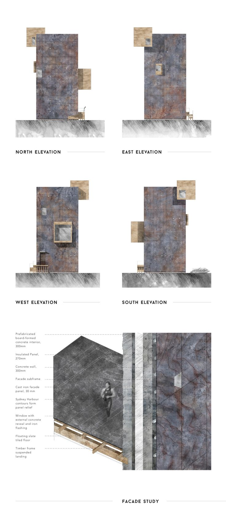 Sydney Harbour - elevations + facade study