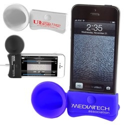 iPhone Megaphone Speaker and Stand - includes a one-color custom imprint.  Priced as low as $1.95 each
