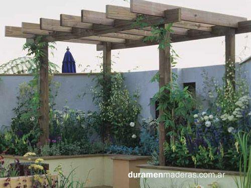 P rgolas de madera duramen maderas decks escaleras for Cobertizo de madera de jardin contemporaneo