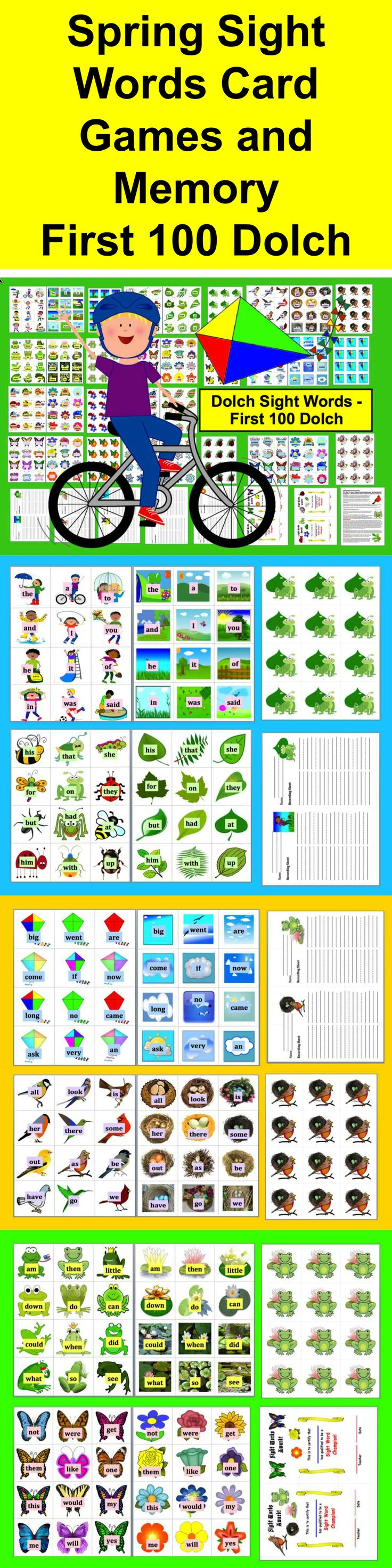 "$ Spring Sight Word Activities-  SET One – 10 Sets – Memory/Concentration, ""Spring Blizzard!"" Card Game and more! – blank cards for theme words or students' names, too…5 Ways to Play - Memory, Old Maid, Follow the Path, Roll and Read, Spring Blizzard - Print With or Without Backings  55 page download - First 100 Dolch Words. (See set 2 in my other product listings for the last 120 Dolch Words.)"