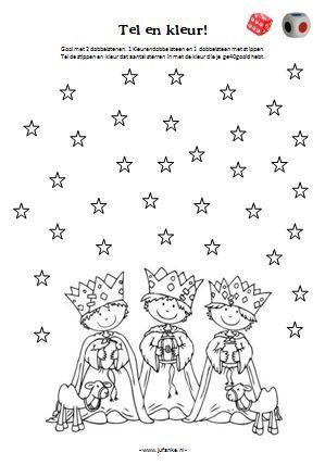 tel en kleur kerst drie koningen kleurplaat. Christmas coloring