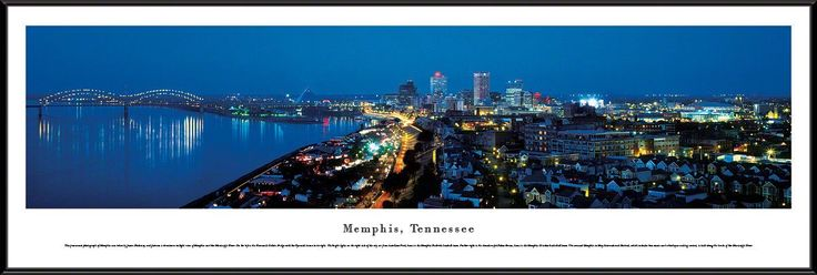 Memphis Skyline Panoramic Picture Framed, Tennessee