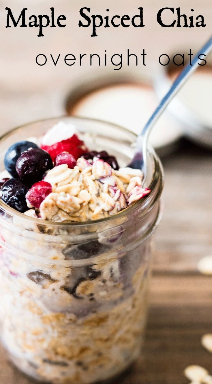 Maple spiced chia overnight oats. Delicious and easy to prepare breakfast packed full of yummy