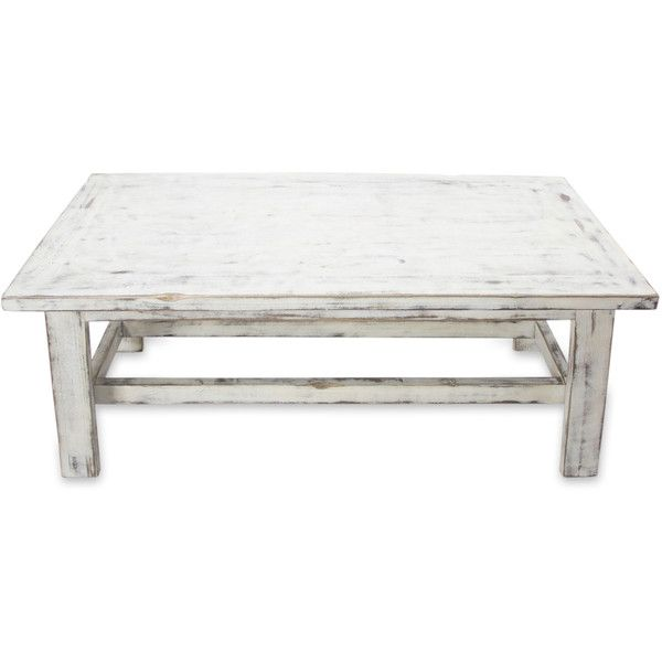 NOVICA Handcrafted Rustic White Wood Coffee Table ($439) ❤ liked on Polyvore
