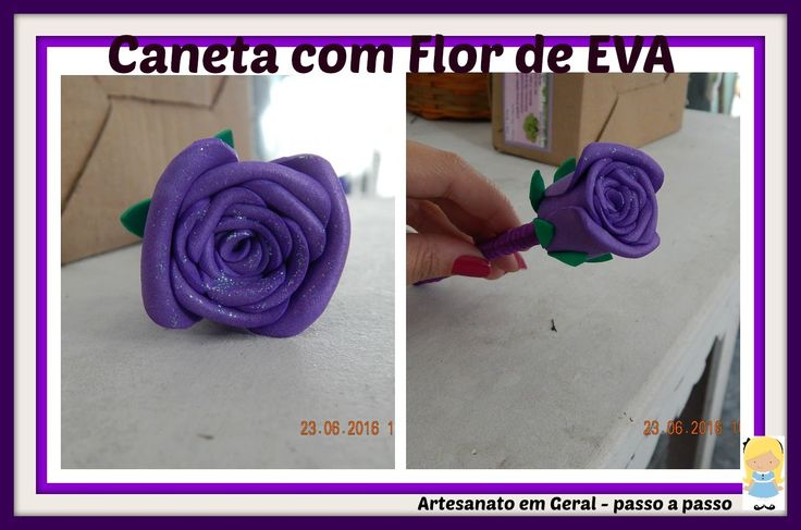CANETA COM FLOR DE EVA