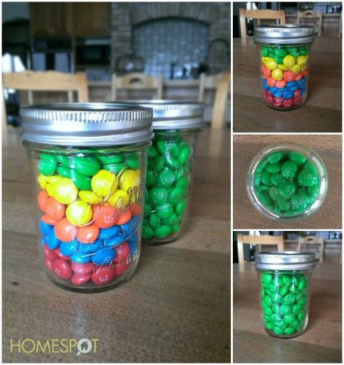St. Patrick's Day decoration of M&M's in a mason jar