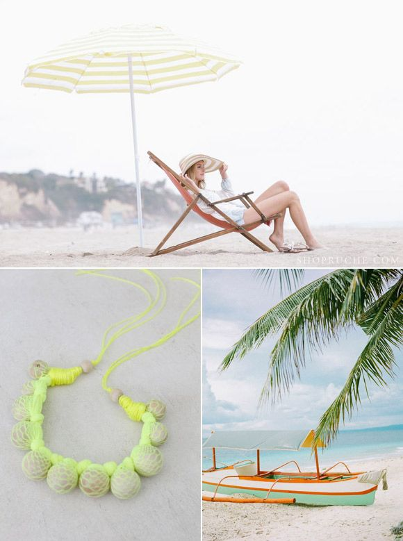 A beautiful color palette of beach colors reminiscent of an exotic beach vacation from The Sweetest Occasion
