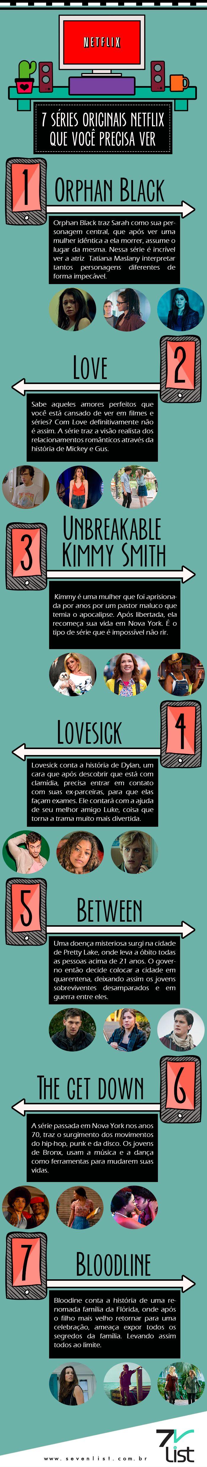 #SevenList #CabideColorido #Art #Design #Infográfico #Netflix #Séries #Film #Tv #OrphanBlack #Love #TheGetDown #Lovesick #Bloodline