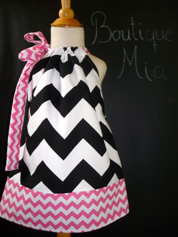 Pillowcase DRESS - Riley Blake - Chevron Black, Pink and White - 2 Years of Fashion - Pick the size Newborn up to 12 Years - by Boutique Mia... #rileyblakedesigns #chevron #pillowcasedress