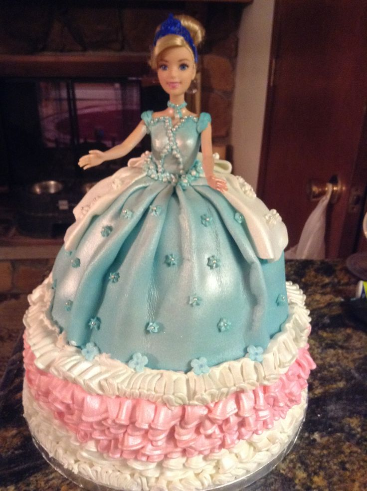 Birthday princess doll cake 2 tier fondant dress ,buttercream ruffled ...