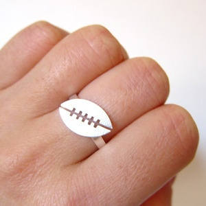 Makes me smile and think of the football playing GirlChildFootball Rings, Sports Clothing, Football Sports, Perfect Gift, Sports Rings, Football Mom, Football Plays, Sterling Silver Rings, Products