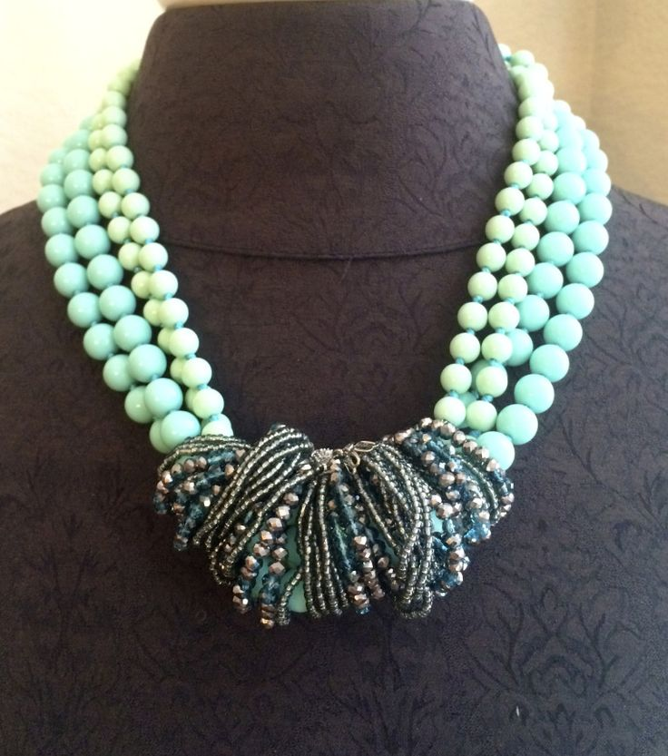 Seabreeze necklace wrapped with the Seaside necklace. Combined they create a WOW!  Jewelry by Premier Designs.