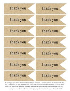 the creative bag blog:  free download for thank you tags-black & white tags also.