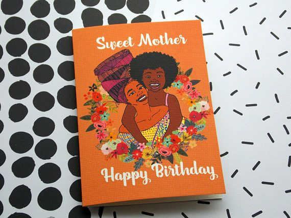 Sweet Mother Birthday Card Greeting Card Black Art